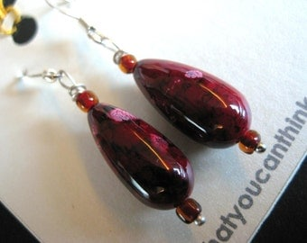 CHERRY BLOSSOM - Japanese Glass Dangle Teardrop Earrings - Maroon, Pink, Flower, Under 15, For Her