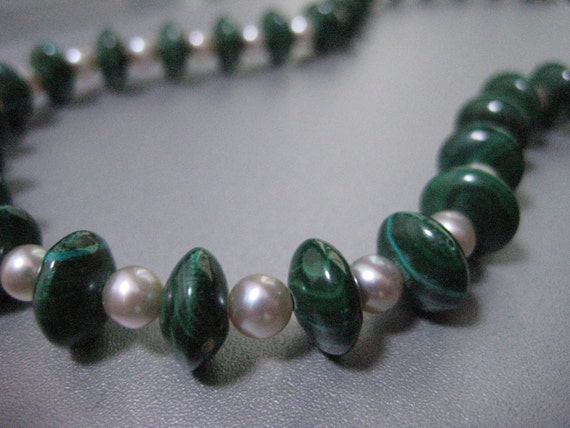 Sale, Was 169 - GREEN WITH ENVY-Genuine Jade Green Malachite Necklace, Champaigne Grey White Fresh Water Pearls, Bridal, Wedding, For Her