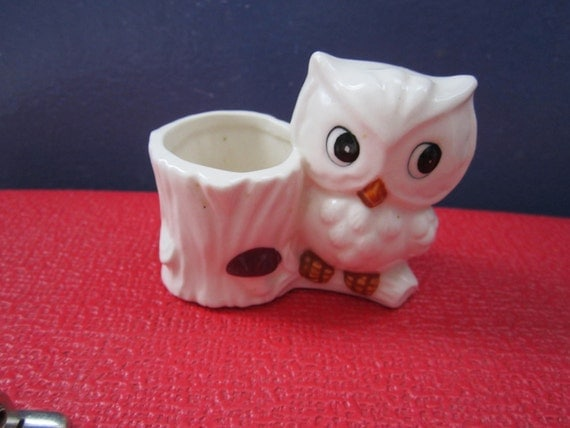 Sweet little owl toothpick holder or planter