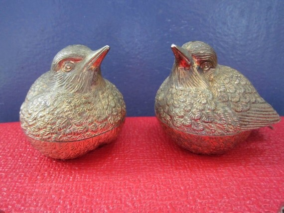 Silver plated Sparrow bird salt and pepper shakers