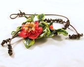 Polymer clay, leather short necklace - Red Hibiscus