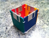 Geeky Computer Floppy Disk Pen Pencil Holder Up-cycled Repurposed