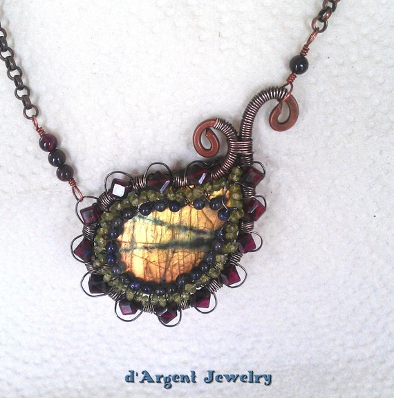 Copper & sterling wire wrapped paisley focal necklace with yellow labradorite, square garnet, peridot and iolite OOAK