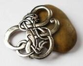 Silver Celtic Dragon Brooch or Pendant