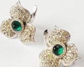 Rhinestone Leaves Green Stone Center Earrings