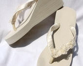 SALE - Ivory Flip Flops or White Flip Flops with Flowers or White Flip Flops with Flowers