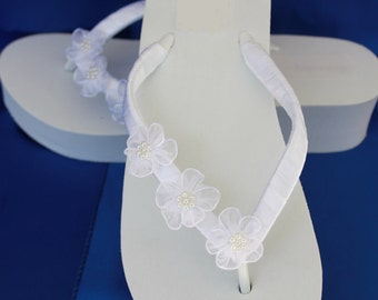 SALE - White Flip Flops - Ivory Wedge Flip Flops Sandals with Organza Flowers Beach Wedding Sandals