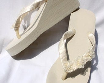 SALE - Ivory Flip Flops or White Flip Flops with Flowers or White Flip Flops with Flowers