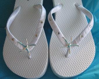 SALE Ivory Flip Flops - White Flip Flops Starfish and Rhinestones Design - Bridal Flip Flops