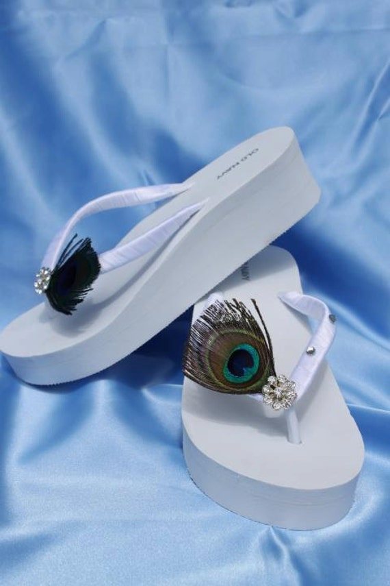 White Flip Flops or Ivory Flip Flops Sandals with Peacock Feathers and Crystals Design