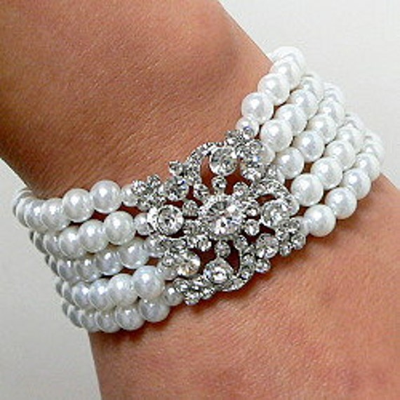 Bridal Multi Strand Pearl Bracelet with Crystal Rhinestone Brooch