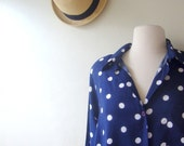 vintage polka dot blouse / 1980s / navy blue, large print, chic slouch style / medium, large