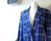 vintage plaid blazer / 1980s / orange and blue college style prep style / small, medium