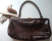 vintage leather handbag / 1980s / deep brown leather, crocodile, authentic nicole miller / small, medium