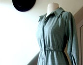 SALE 50% OFF - vintage dress / 1970s / pale teal shirt dress, button down, long sleeve / small, medium
