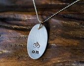 Necklace Silver Pendant Hand Stamped- Om