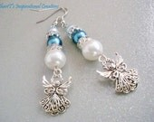 Blue Glass Pearl Guardian Angel Earrings