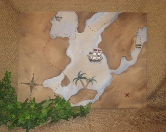 Treasure map hand painted on canvas