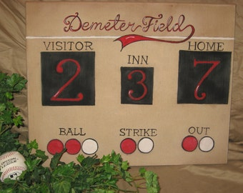 Baseball scoreboard personalized with your family name or childs name