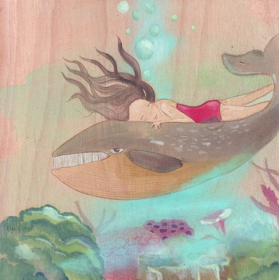 Whale and girl in berry pink, original painting, acrylic, watercolor, ink, folk art, wood panel,