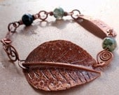 Copper Forest Leaf and Green Moss Agate Bracelet