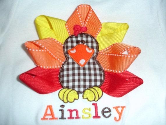 Little Ribbon Turkey shirt/onsie Red/Yellow/Orange