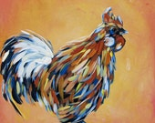 Rooster original acrylic painting on canvas great GIFT
