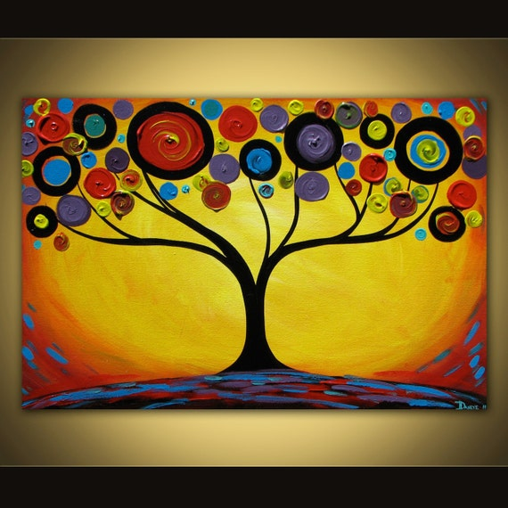 Original abstract painting Sunset Swirl Tree acrylic on canvas 36x24 SALE