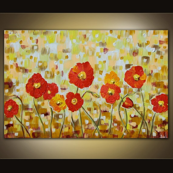 Original acrylic Poppy painting on canvas huge Modern abstract contemporary art 36 x 24
