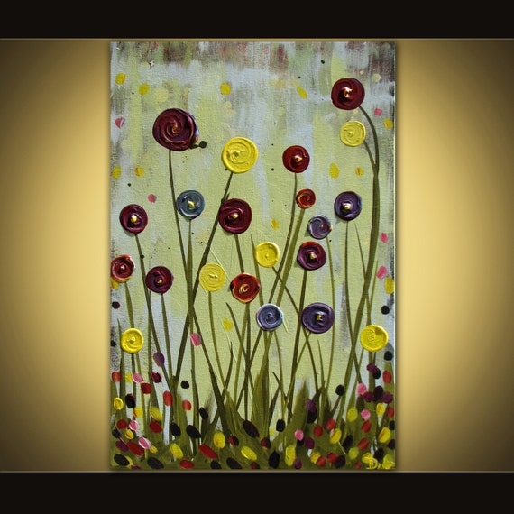 Original flower painting abstract acrylic on canvas 24x36 huge