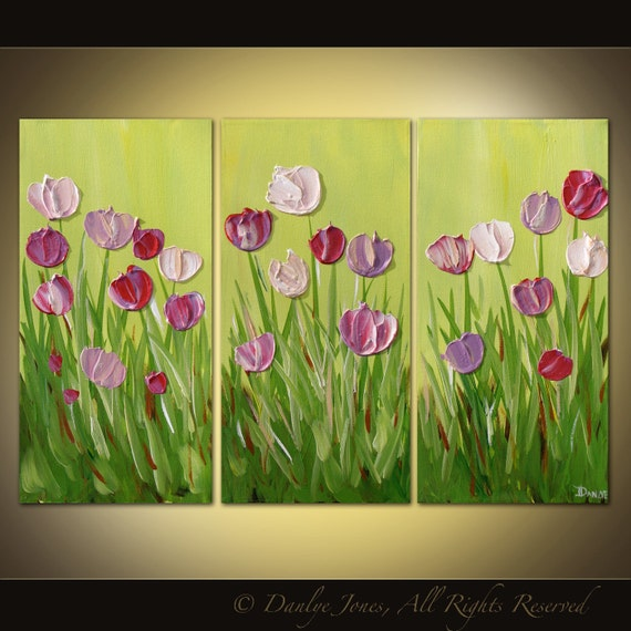 Original abstract painting Tulips acrylic on canvas 3 panel large Great Gift