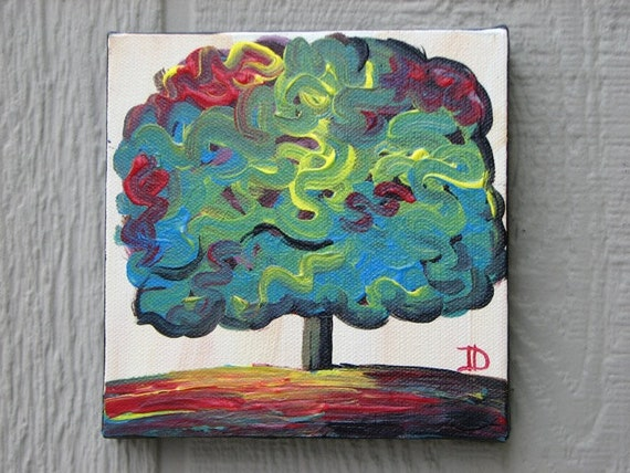 Little Tree painting original acrylic on canvas 6 x 6 SALE