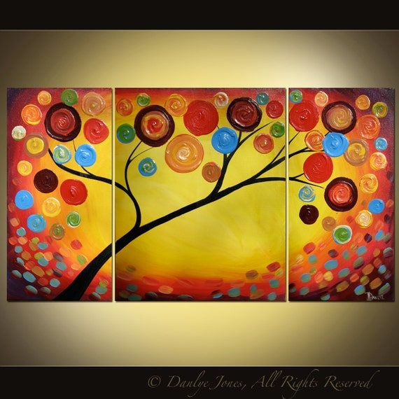 Tree painting original modern impasto acrylic triptych on canvas large 3 panel 36 x 20 SALE