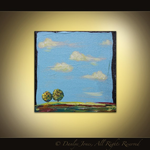 Tuscan Landscape mini original acrylic painting on canvas
