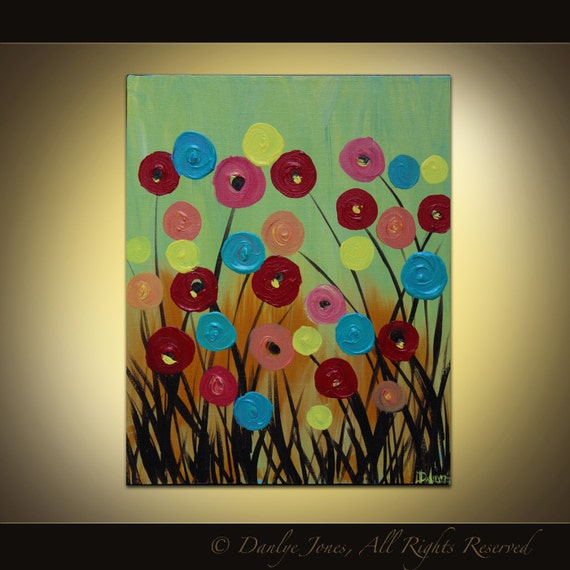 Original painting on canvas red blue poppy swirl modern abstract