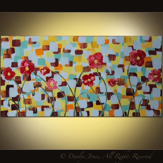 Original acrylic Poppy painting on canvas huge Modern abstract contemporary art 48 x 24