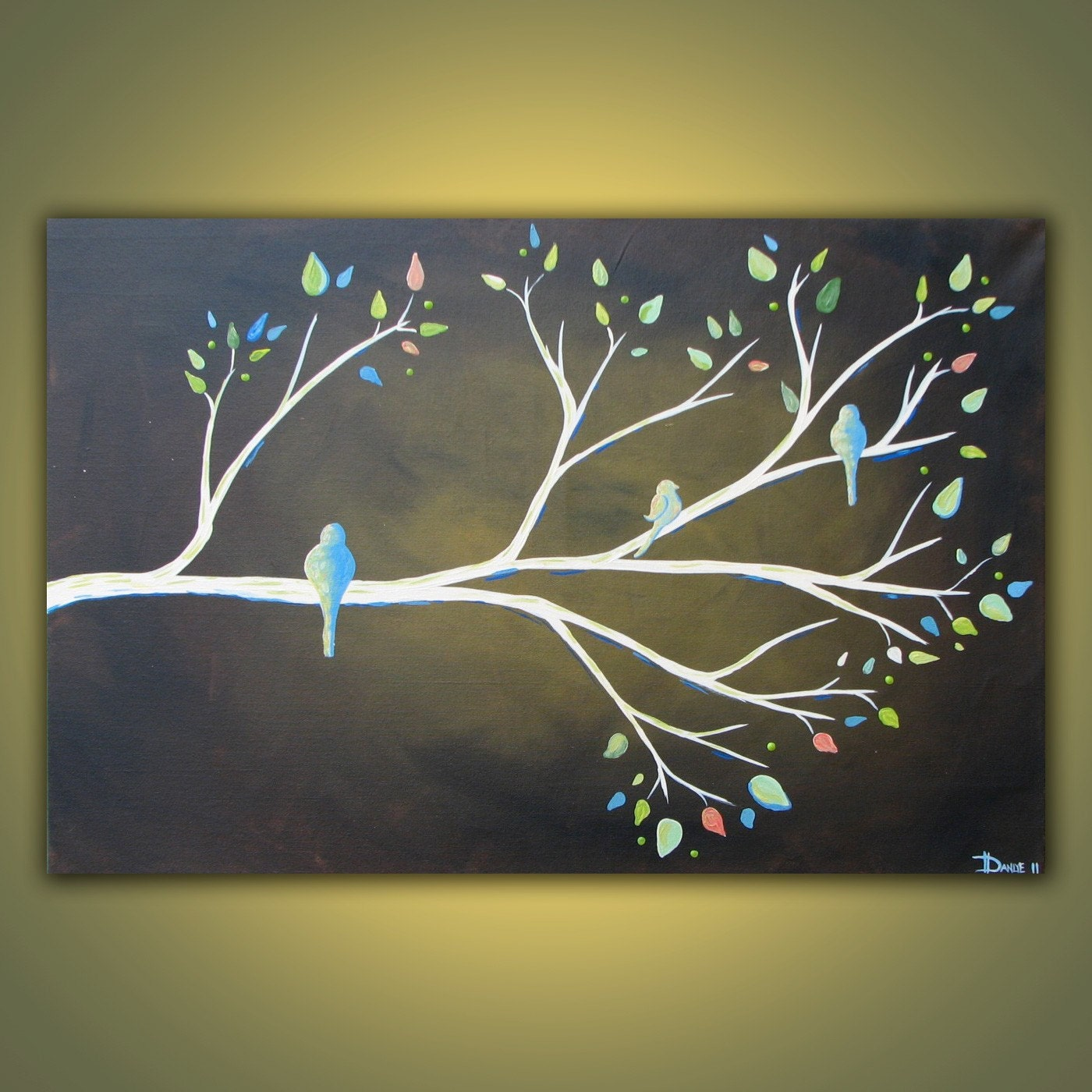 Spring branch original acrylic bird painting on canvas 3ft x for How to paint a simple picture on canvas