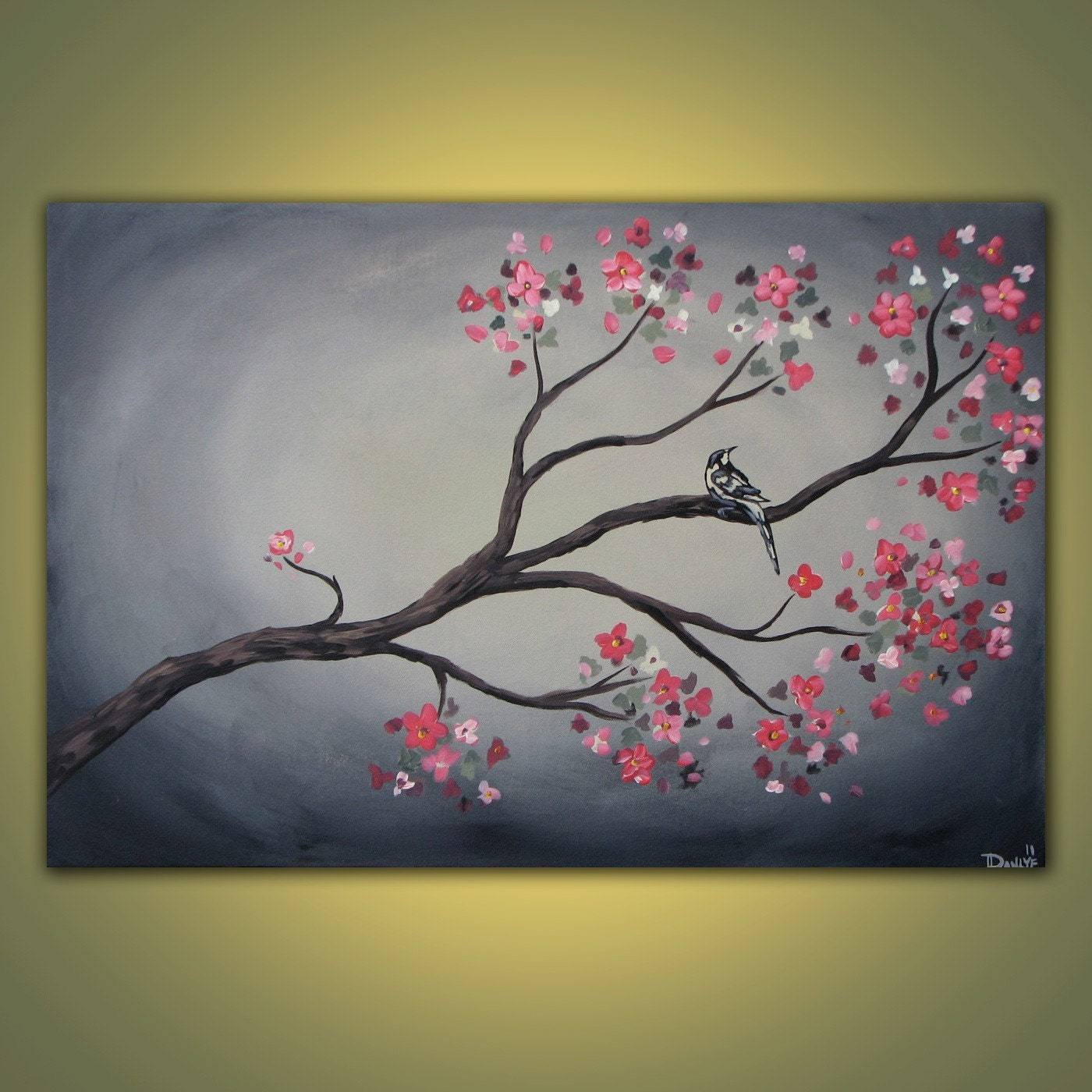 Spring branch original acrylic bird painting on canvas 3ft x for Spring canvas paintings