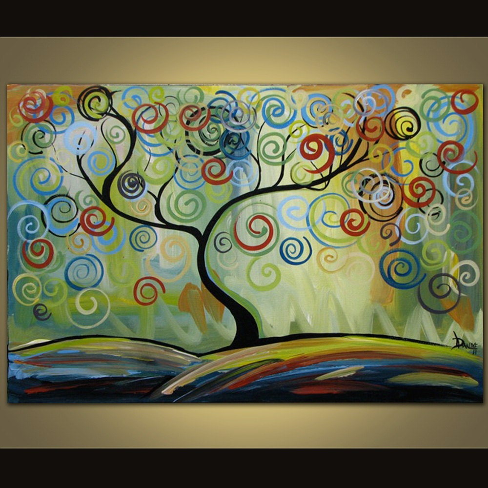 Original abstract tree painting acrylic on canvas 36x24