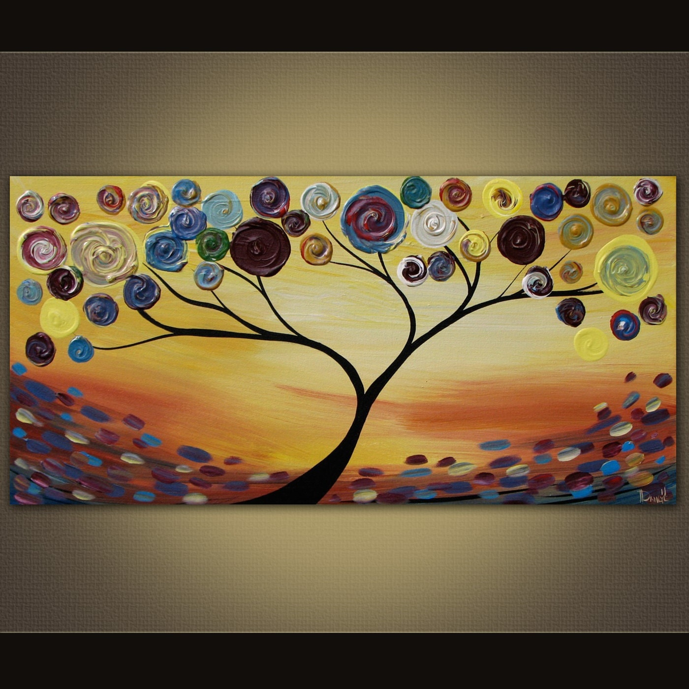 Original abstract tree painting acrylic on canvas 36x18