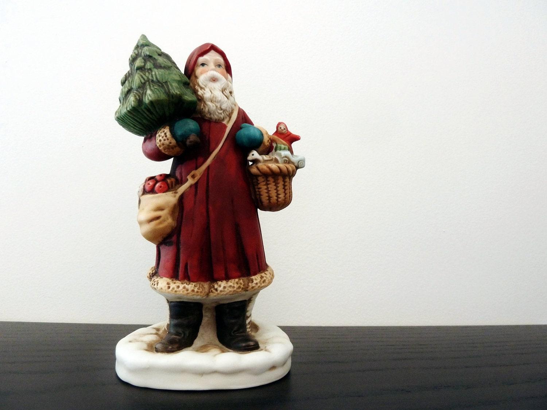 Santa claus figurine st nicholas porcelain bisque enesco