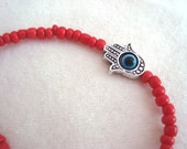 Kabbalah Hamsa Evil Eye Red Stretch Bracelet Nazar Mystic Hand of Fatima