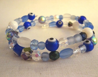 Evil Eye Memory Wire Shades of Blue Bracelet Nazar Mati