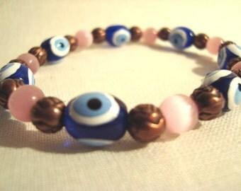 Evil Eye Pink Cat Eye Copper Stretch Bracelet Nazar Mati