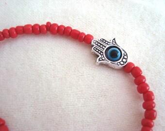 Kabbalah Hamsa Evil Eye Red Stretch Bracelet Nazar Mystic Hand of Fatima