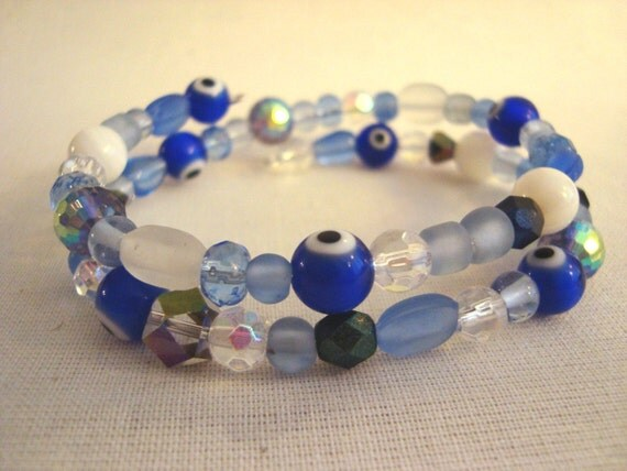 Evil Eye Memory Wire Shades of Blue Bracelet Nazar Mati
