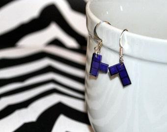 Purple Tetramino Earrings Set