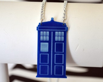 TARDIS Inspired Blue Telephone Box Necklace