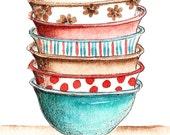 PRINT-Vintage Bowls (5in x 7in)