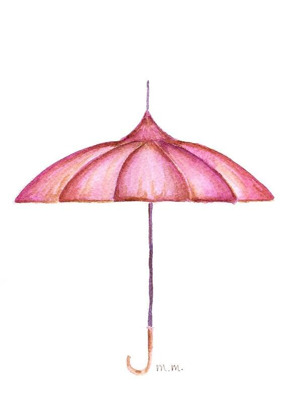 Vintage Umbrella (original watercolor, 5in. x 7in.)